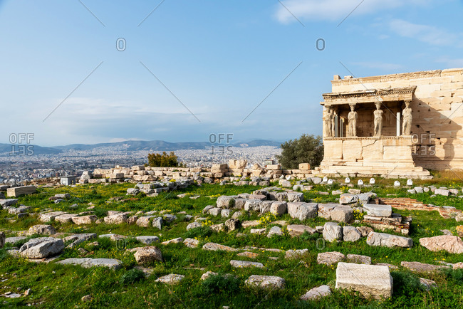 The porch of the Caryatids of the Erechtheion temple at the Acropolis of Athens, Greece