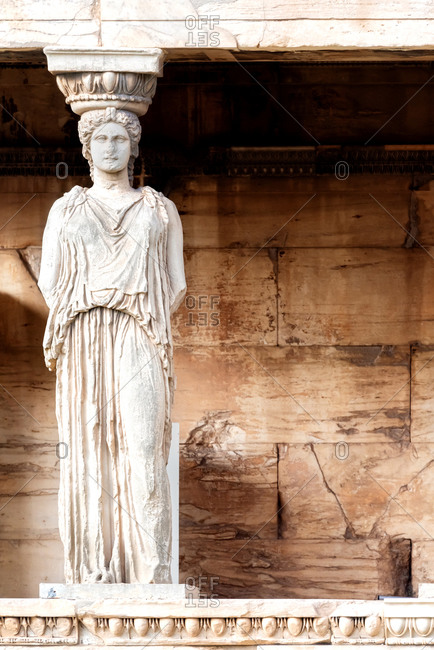 The porch of the Caryatids, a detail of the Erechtheion temple at the Acropolis of Athens, Greece