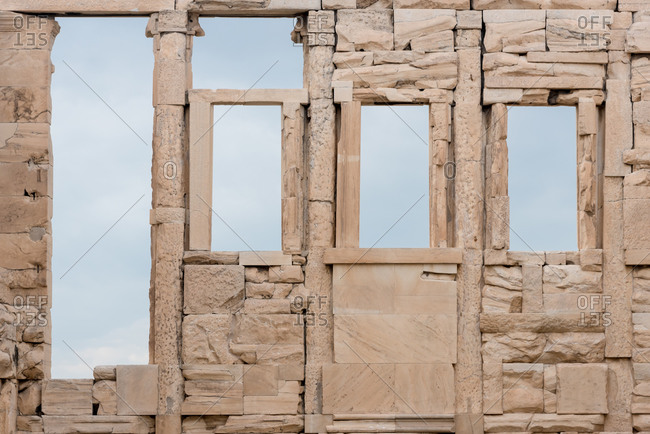 Detail from the Erechtheion, in the Acropolis of Athens, Greece