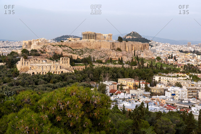 February 4, 2018: Panoramic view of the Acropolis and the ancient city of Athens, Greece