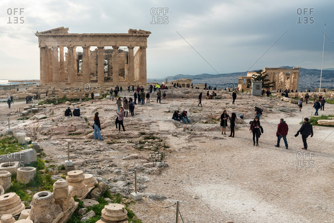 February 4, 2018: Tourists visiting the Parthenon in the Acropolis. Athens, Greece