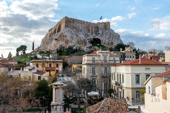February 4, 2018: Breathtaking view of Plaka neighborhood in Athens, Greece