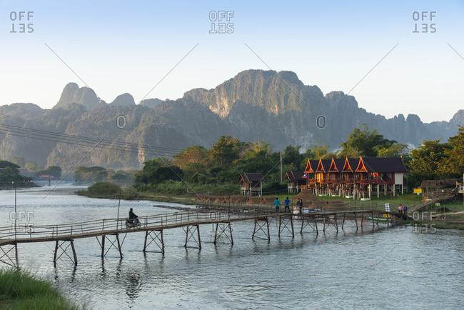 Vang Vieng, Laos - November 24, 2014: Bridge over the Nam Song River