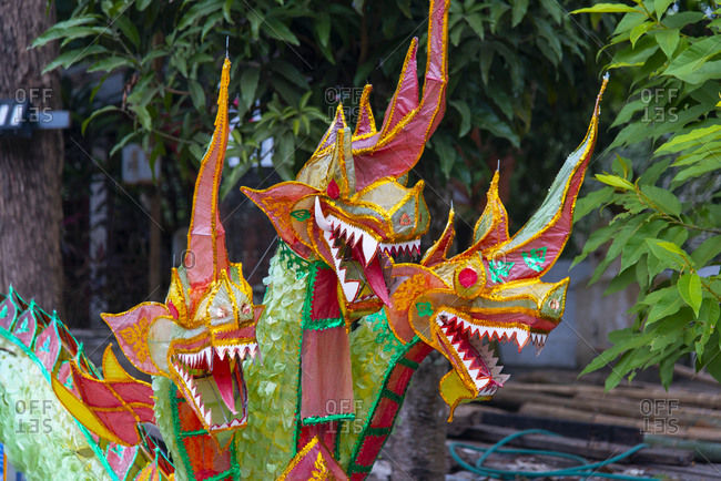 Sculpture of a three-headed dragon at a temple in Luang Prabang, Laos
