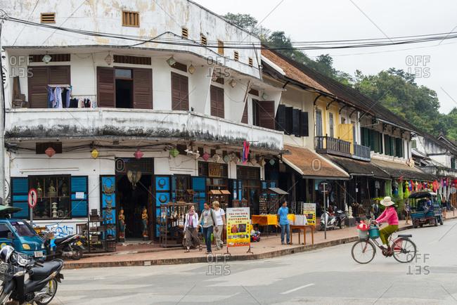 Luang Prabang, Laos - November 25, 2014: Street scene in downtown Luang Prabang