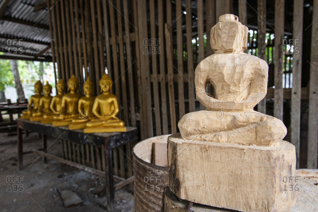 Buddha sculpture in progress in Laos