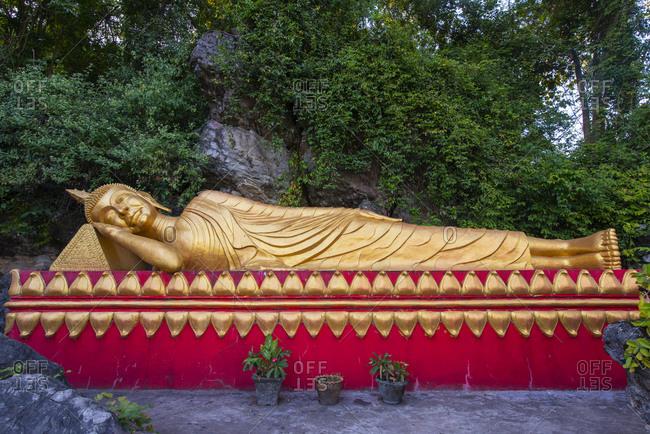 Reclining golden Buddha on Mount Phousi, Luang Prabang, Laos