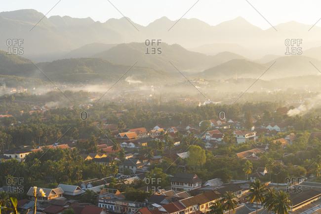 View of Luang Prabang, Laos from Mount Phousi at sunset