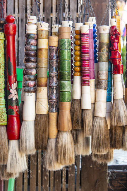 Colorful brushes for sale in Luang Prabang, Laos