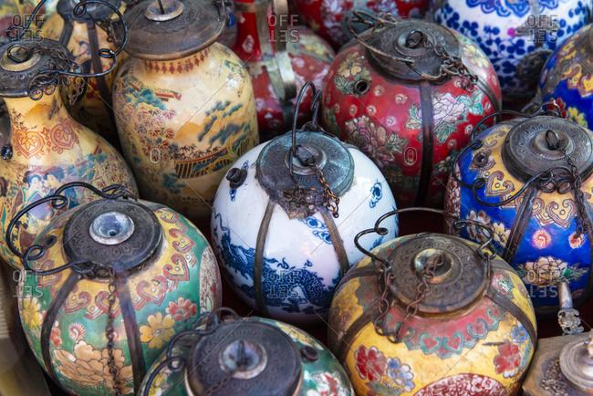 Colorful ceramic pots for sale in Luang Prabang, Laos