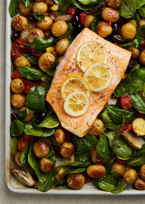 Overhead view of roasted salmon one pan dinner