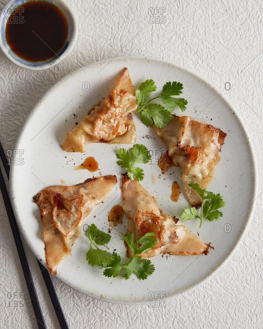 Serving of crispy dumplings with soy sauce