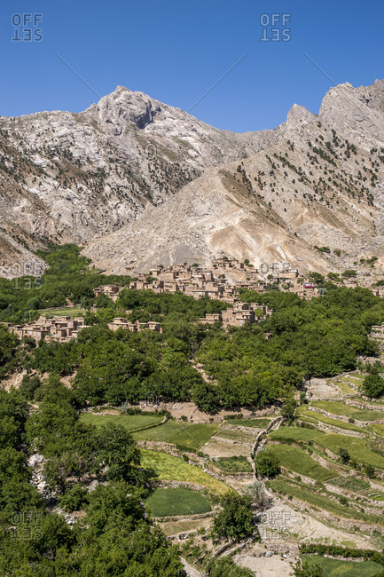 Mountainside village and terraced fields of wheat and potatoes in the Panjshir valley in Afghanistan