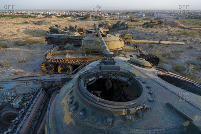 Abandoned tanks on the outskirts of Kabul
