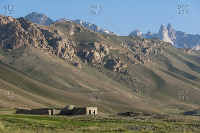 A remote farm in mountainous Bamiyan province below the Koh-i-Baba mountain range