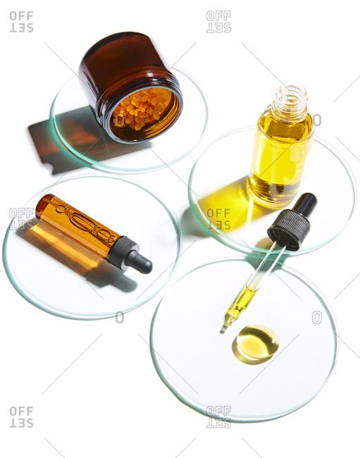 Bottles of skincare serums on display