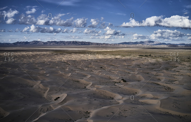 USA- California- Low-level aerial photography of Cadiz Dunes in Mojave Desert