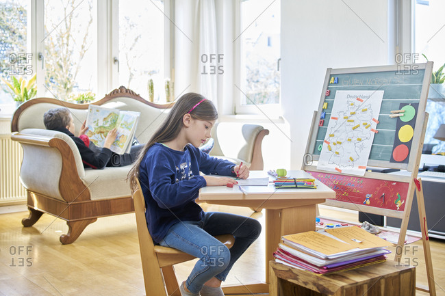 Children learning at home during school closure