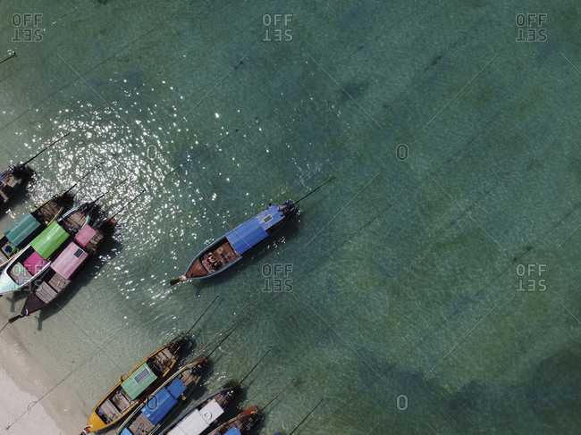 Traditional wooden boats at the beach- Ko Phi Phi Don- Thailand