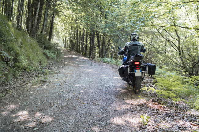 Motorcyclist on a trip on a forest road