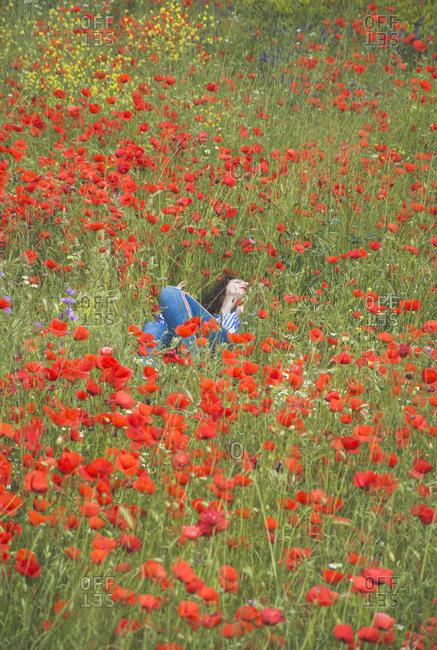 Young woman lying in poppy field