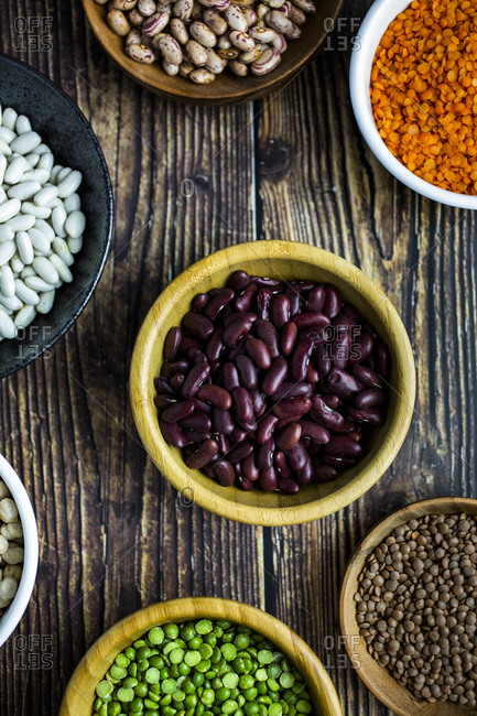 Bowls of various beans and lentils