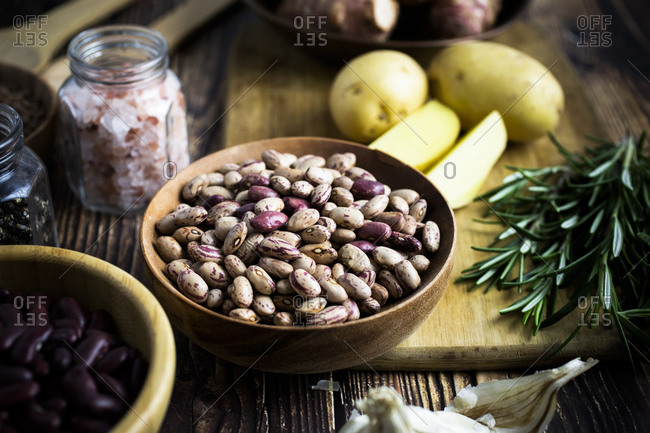 Bowl of pinto beans on the counter