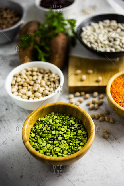 Bowl of green lentils on the counter