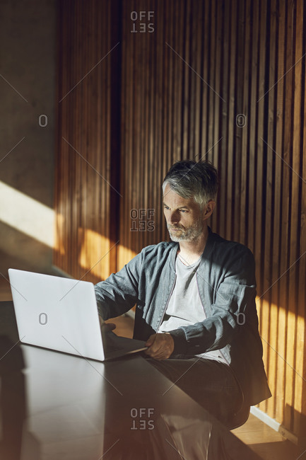 Casual businessman sitting in his sustainable office- using laptop