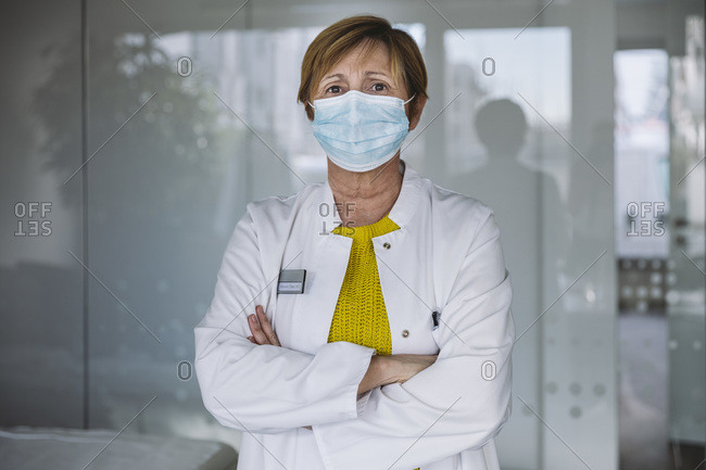 Portrait of doctor wearing face protection mask
