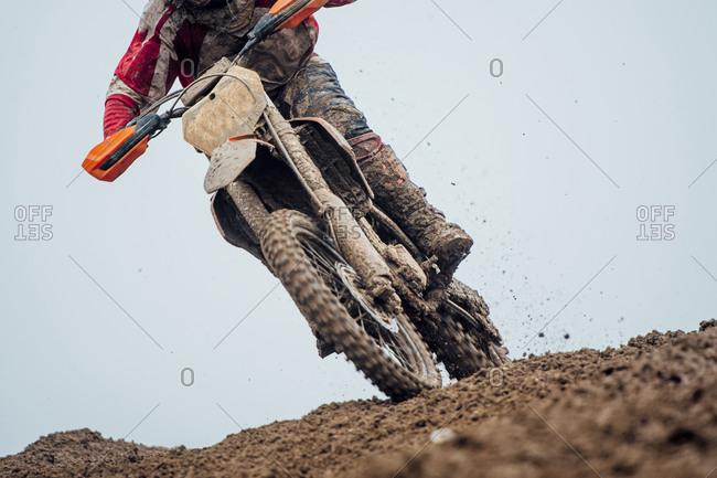 Motocross driver during motocross race