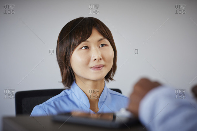 Portrait of receptionist in a dental practice