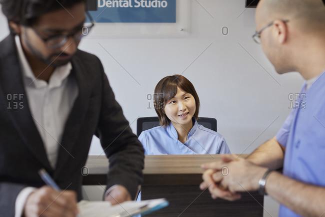Reception desk of a dental practice