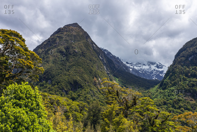 New Zealand-Southland-Scenic view of Mount Christina and Mount Crosscut seen from Pops View Lookout