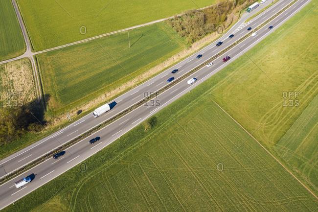 Germany- Baden-Wurttemberg- Remstal- Aerial view of traffic onBundesstrasseB29 in spring
