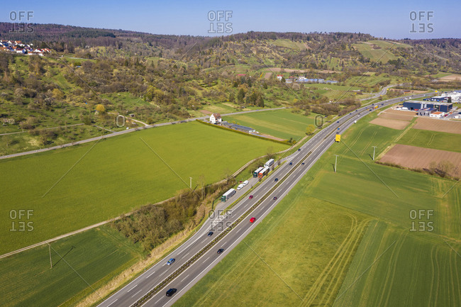 Germany- Baden-Wurttemberg- Remstal- Aerial view of traffic on Bundesstrasse B29 in spring