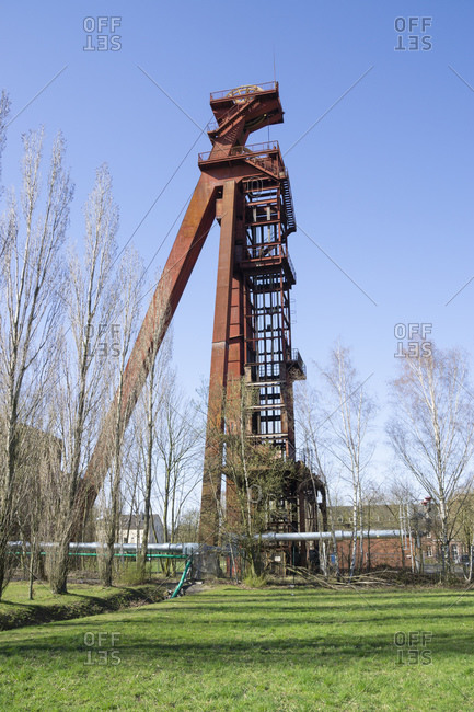 Germany- North Rhine-Westphalia- Kamen- Low angle view of abandoned shaft tower standing against clear sky