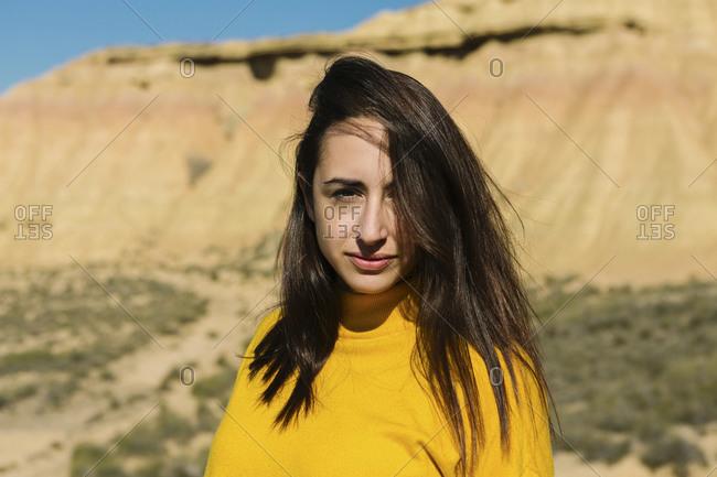 Portrait of brunette woman- Bardenas Reales- Arguedas- Navarra- Spain