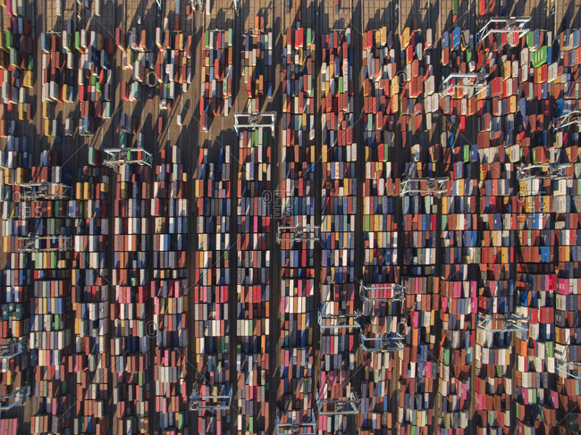 Norfolk, VA, United States - August 8, 2018: Shipping Containers Fill Port on East Coast