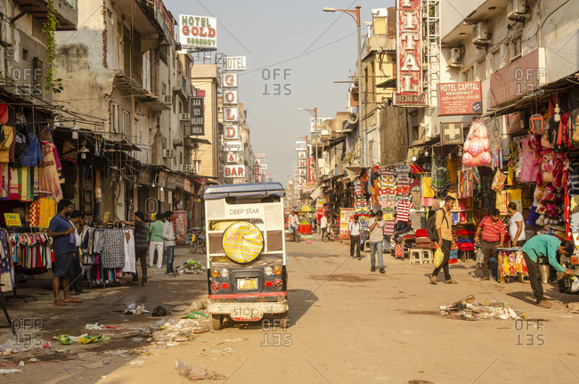 Delhi, DL, India - August 17, 2018: Old Delhi City street with shops and people