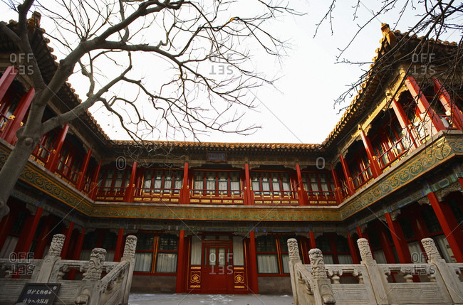 Beijing, Beijing, China - July 12, 2011: courtyard inside the forbidden city in Beijing