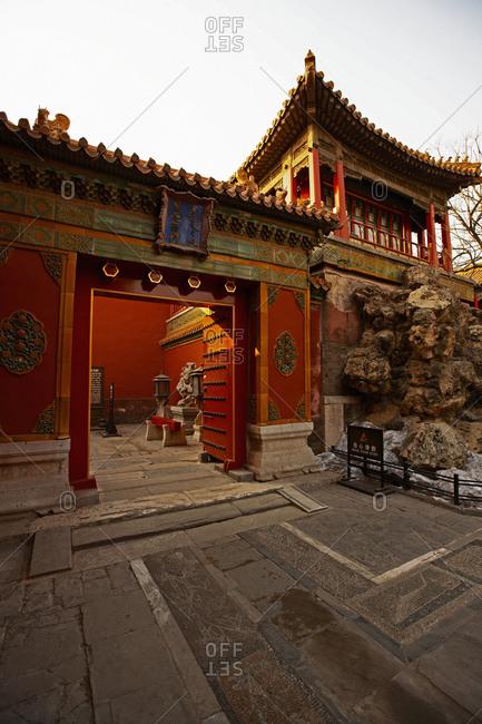 Beijing, Beijing, China - July 12, 2011: heavy doorframe inside the forbidden city in Beijing