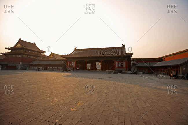 Beijing, Beijing, China - May 8, 2010: empty court yard inside the forbidden city