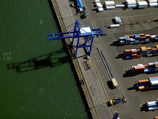 Reykjavik, Iceland - August 26, 2005: Aerial shot of container terminal in the port of Reykjavik