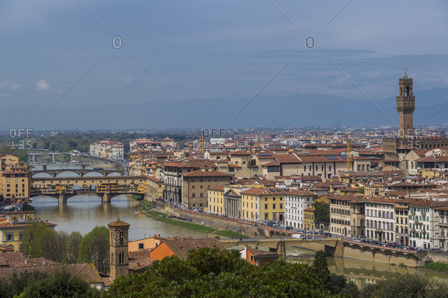 Florence, Tuscany, Italy - April 12, 2018: The famous Ponte Vecchio in Florence