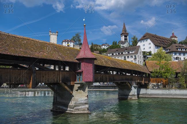 Lucerne, LU, Switzerland - August 29, 2018: wooden bridge in Lucerne / Switzerland