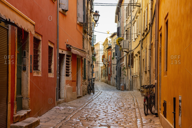 Rovinj, Istria County, Croatia - April 20, 2019: empty street in Rovinj / Croatia