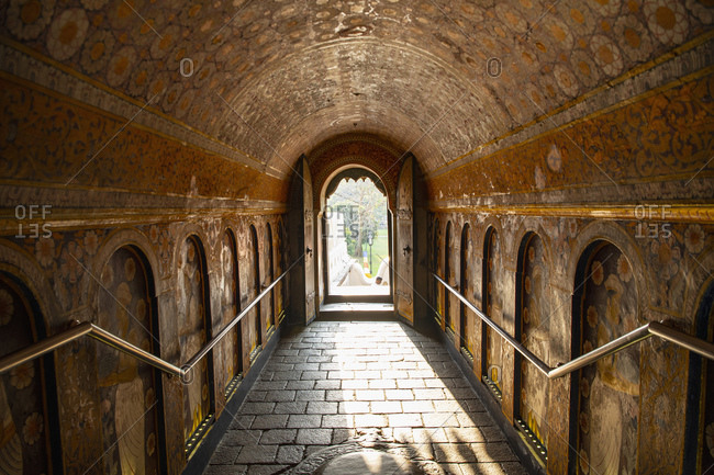 Kandy, CP, Sri Lanka - February 29, 2020: tunnel at the temple of the holy tooth relic in Kandy / Sri Lanka