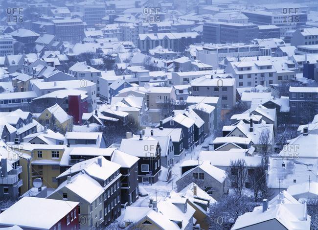 Reykjavik, Iceland - August 18, 2011: residential area of Reykjavik in the winter