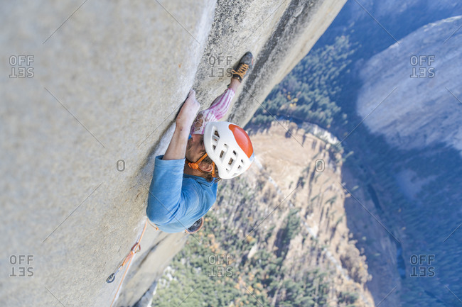 Rock climber crack climbing on the Nose, El Capitan in Yosemite